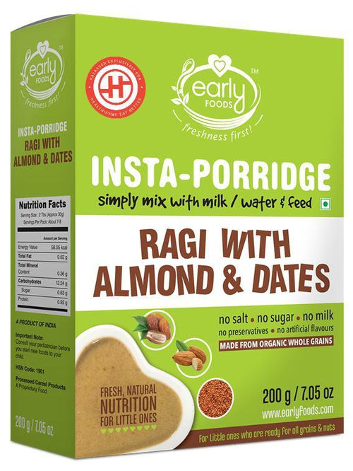 Early Foods - Instant Ragi, Almond & Date Porridge Mix (8 Months+) - 200 gm