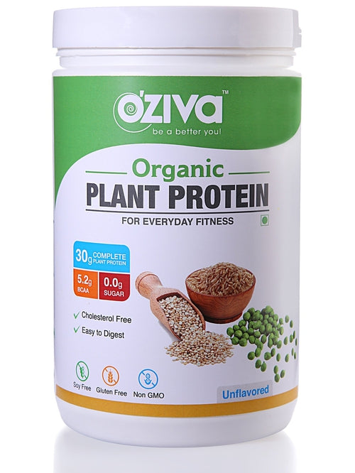 OZiva Organic Plant Protein, For Everyday Fitness - Unflavored ( 1000gm )