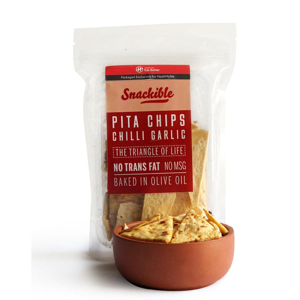 Chilli Garlic Pita Chips, Pack of 4 ( 75gm each)