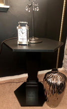 Load image into Gallery viewer, Black Wood Pedestal Table , Chic Lamp Chandelier drops