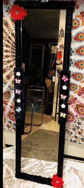 Black Floral Tall Mirror