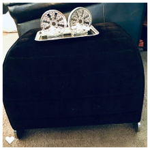 Load image into Gallery viewer, Black Plush Corduroy Ottoman Chrome