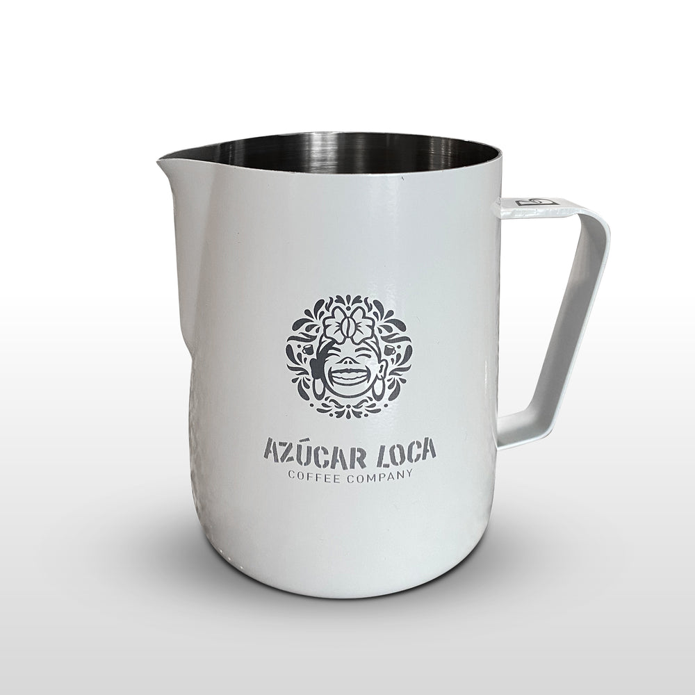 Azucar Loca etched Smart Pour™ Frothing Pitcher - White Matte Finish