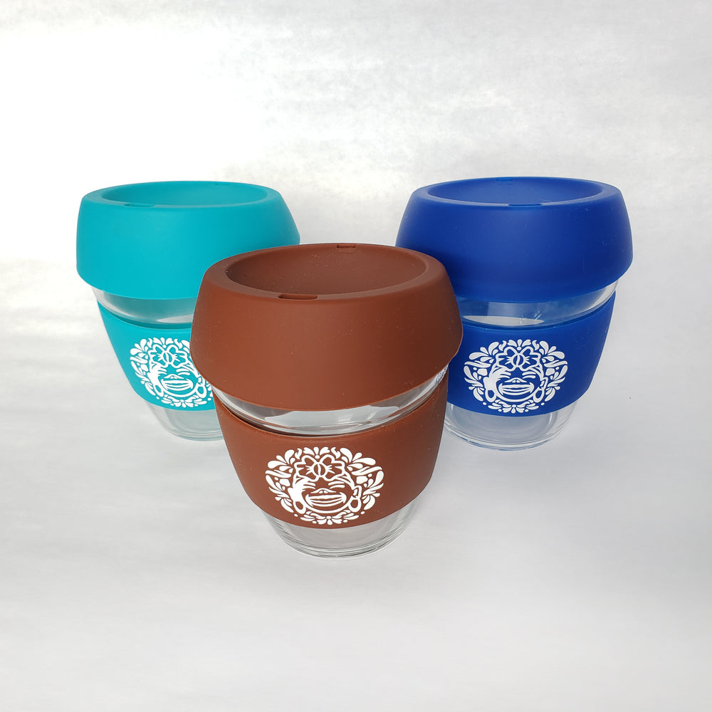SET OF 3 :: 8 oz Environment Friendly - Reusable borosilicate glass and silicon Travel Cup