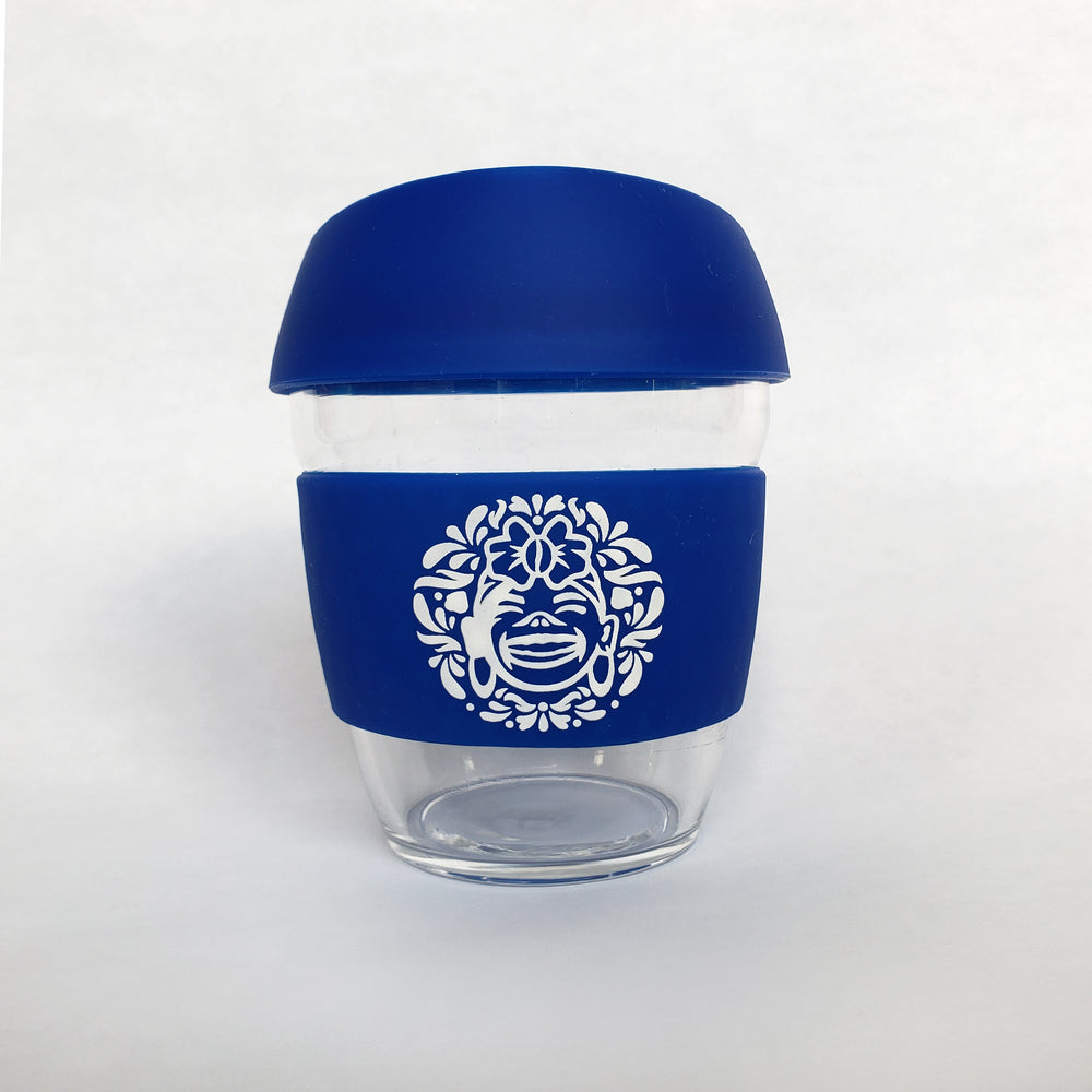 Blue :: 8 oz Environment Friendly - Reusable borosilicate glass and silicon Travel Cup