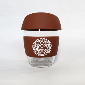 Brown :: 8 oz Environment Friendly - Reusable borosilicate glass and silicon Travel Cup