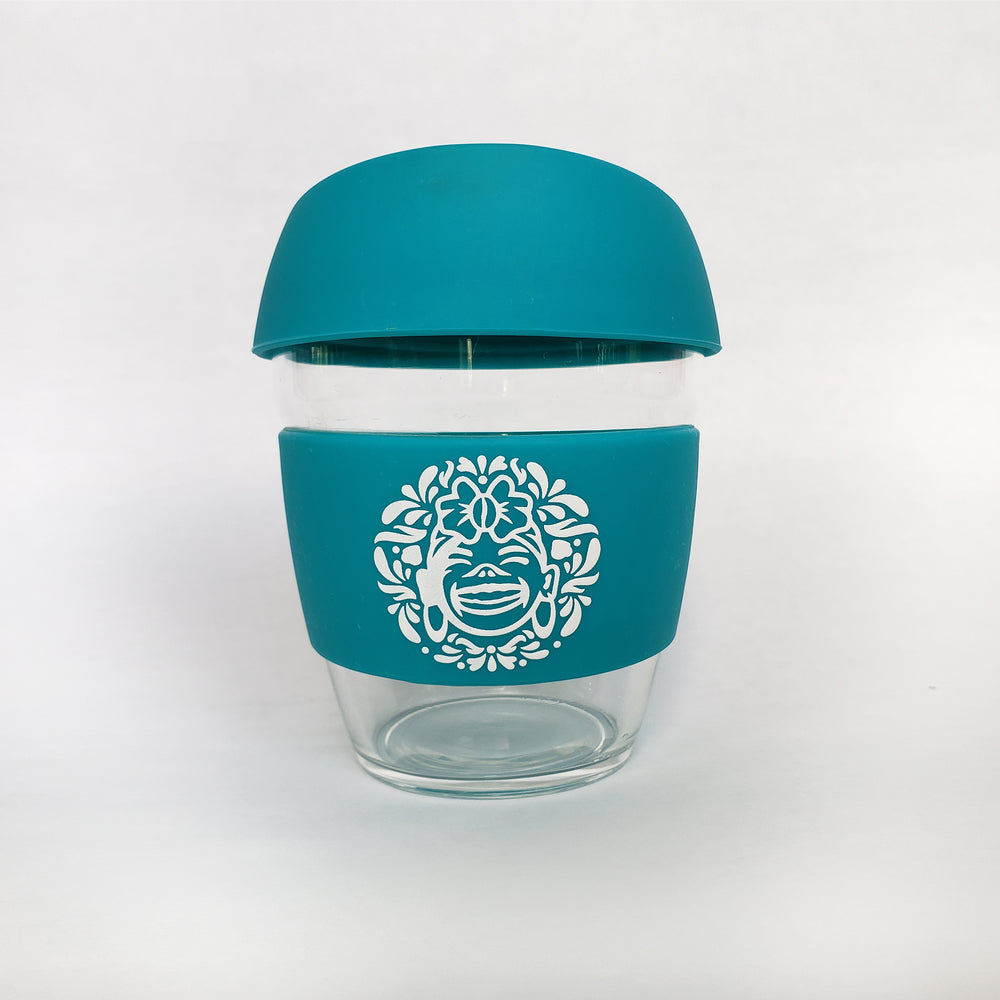 Teal :: 8 oz Environment Friendly - Reusable borosilicate glass and silicon Travel Cup