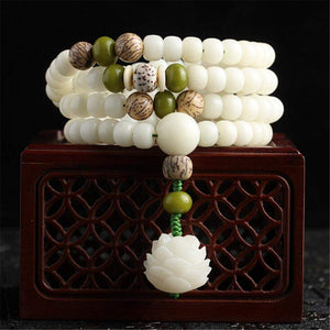 Natural White Bodhi Root Beads Bracelet-MALA BEADS-Green Hippie Yoga