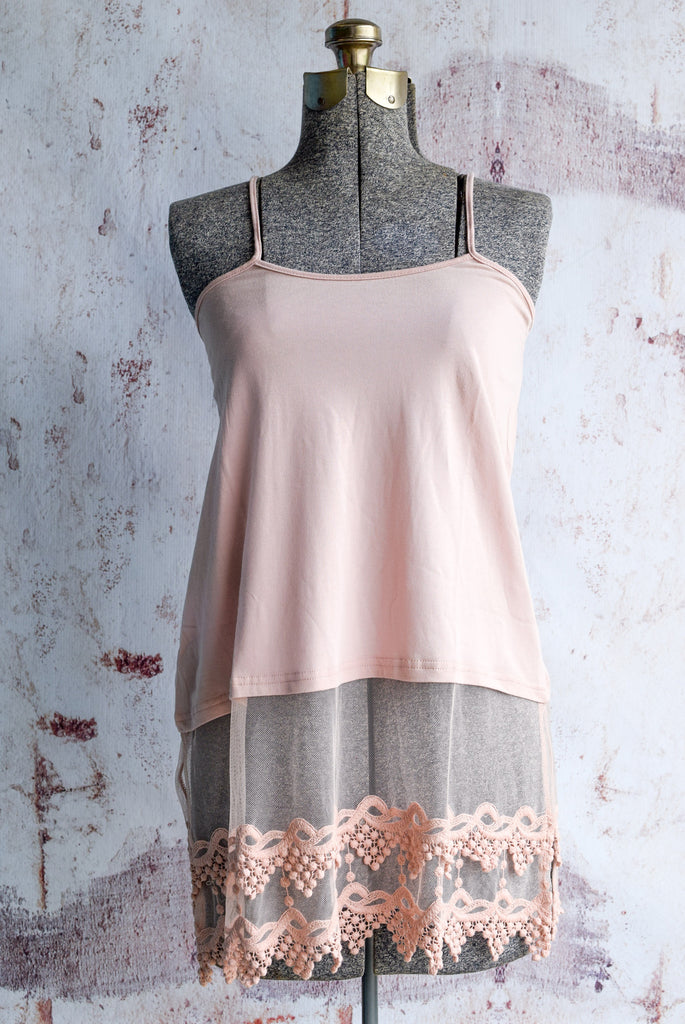 Plus Size Blush Pointed Lace Top Extender