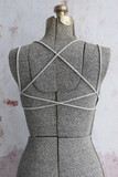 Criss Cross Cool Grey Strappy Back Bralette
