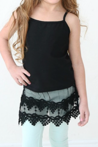 Kids Black Pointed Lace Extender