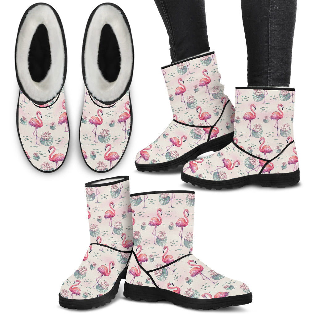 pink flamingo warm rain boots