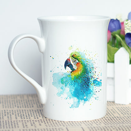 """The Rainbows of Rainforest"" Set of Parrot Stylish Coffee Mugs"