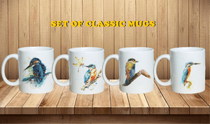 """The Royal Bird"" Set of Kingfisher Classic Coffee Mugs"