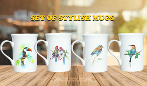 """ A Beautiful Flock "" Set of Random Birds Stylish Coffee Mugs"