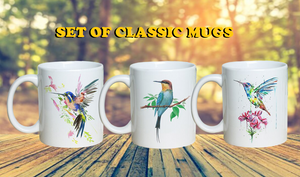 """Free Spirit"" Set of Hummingbird Classic Coffee Mugs"