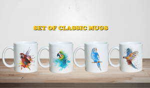 """The Rainbows of Rainforest"" Set of Parrot Classic Coffee Mugs"