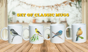 """ The Chirpy "" Set of Songbird Classic Coffee Mugs"