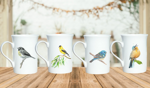 """ The Chirpy "" Set of Songbird Stylish Coffee Mugs"