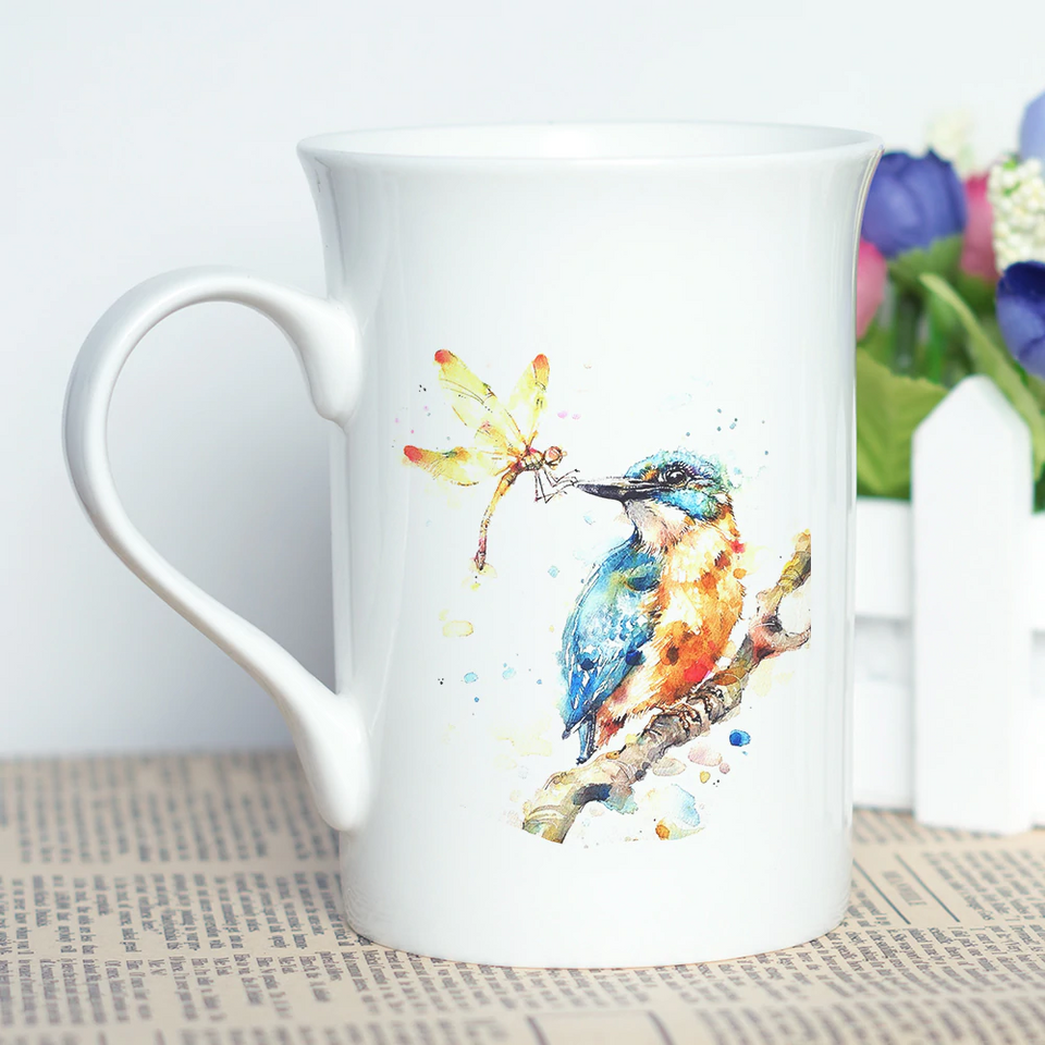 """The Royal Bird"" Set of Kingfisher Stylish Coffee Mugs"