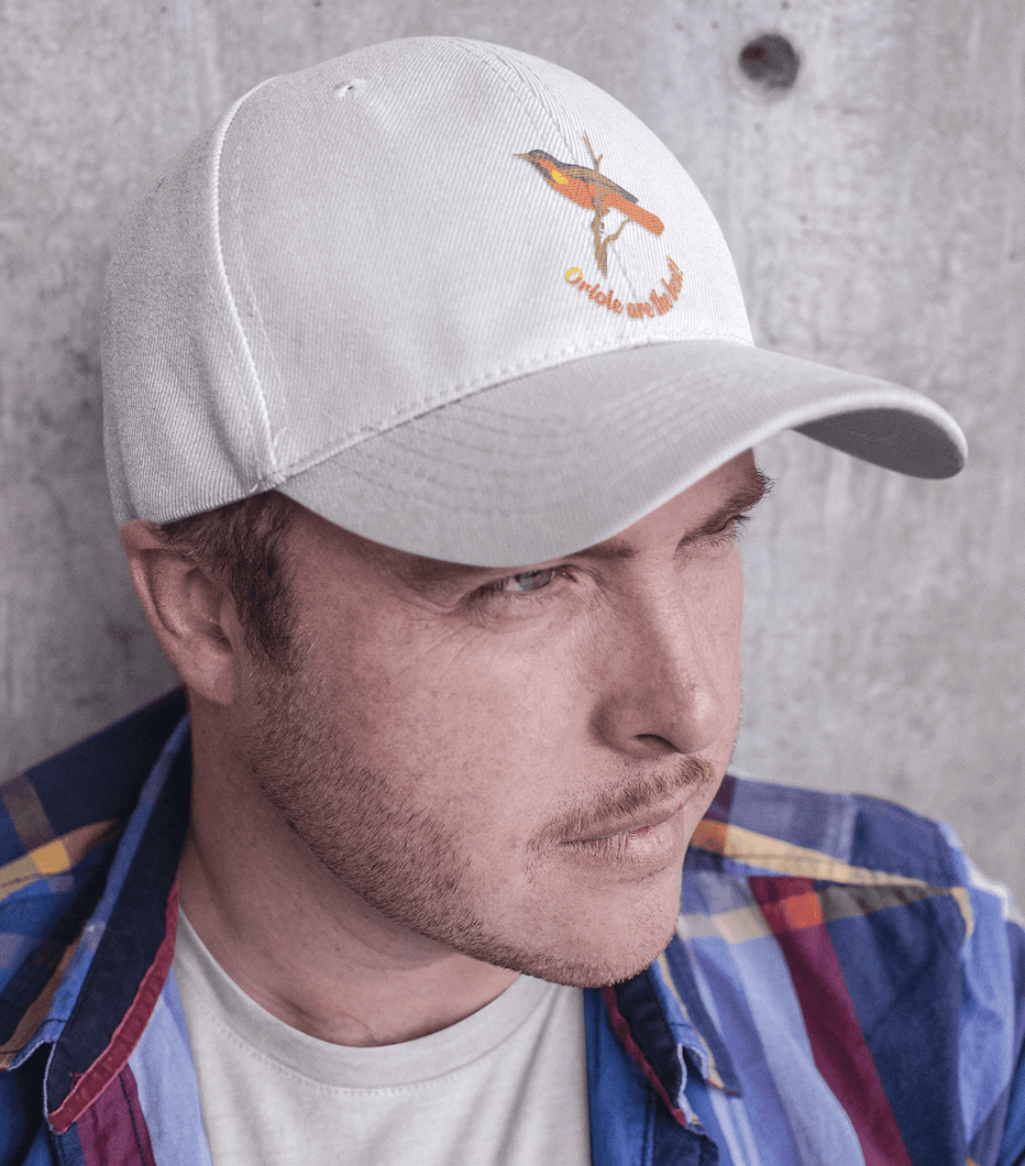oriole white dad hat for men