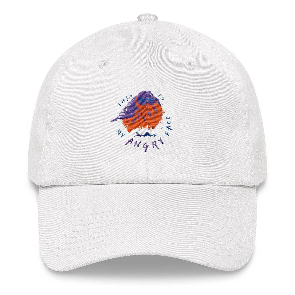 white dad hat with bird