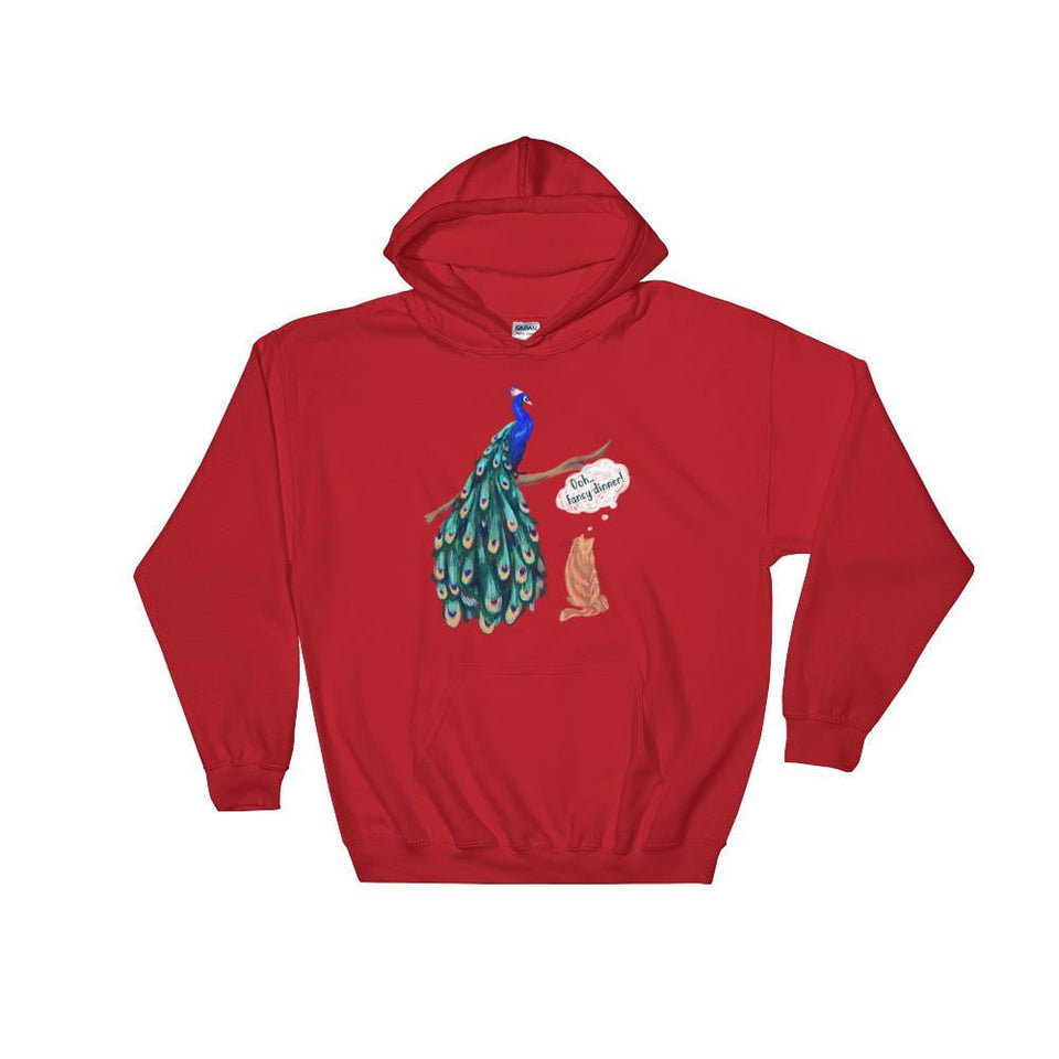 red peacock women's hoodie sweater