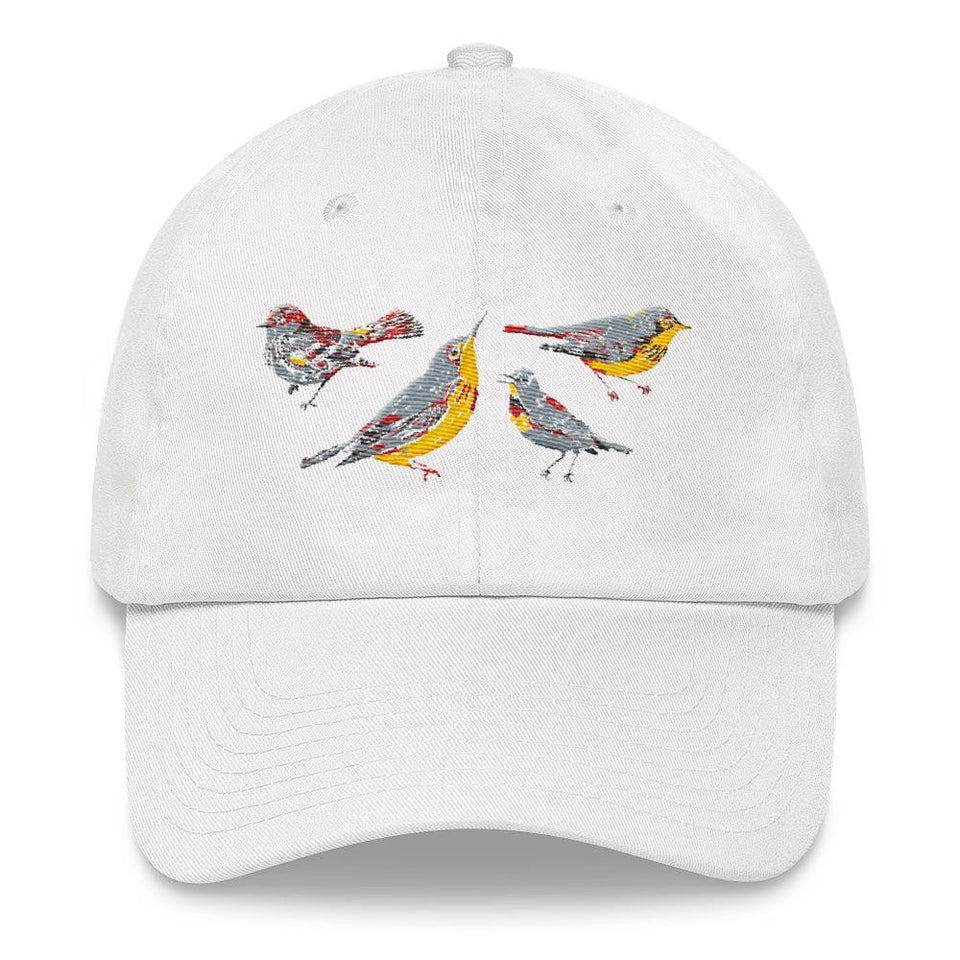 white women's dad hat bird design