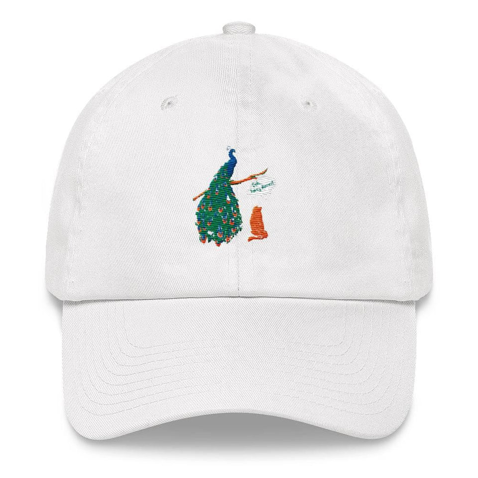 white peacock dad hat