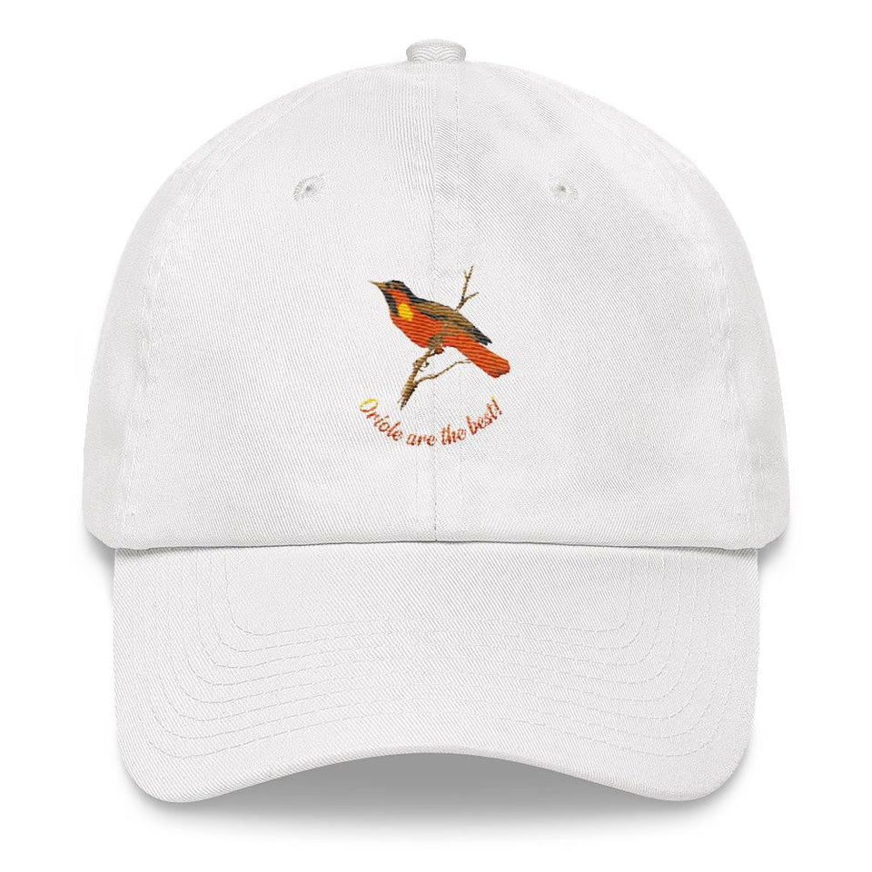 orioles men's white dad hat