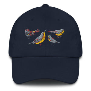 navy bird hat