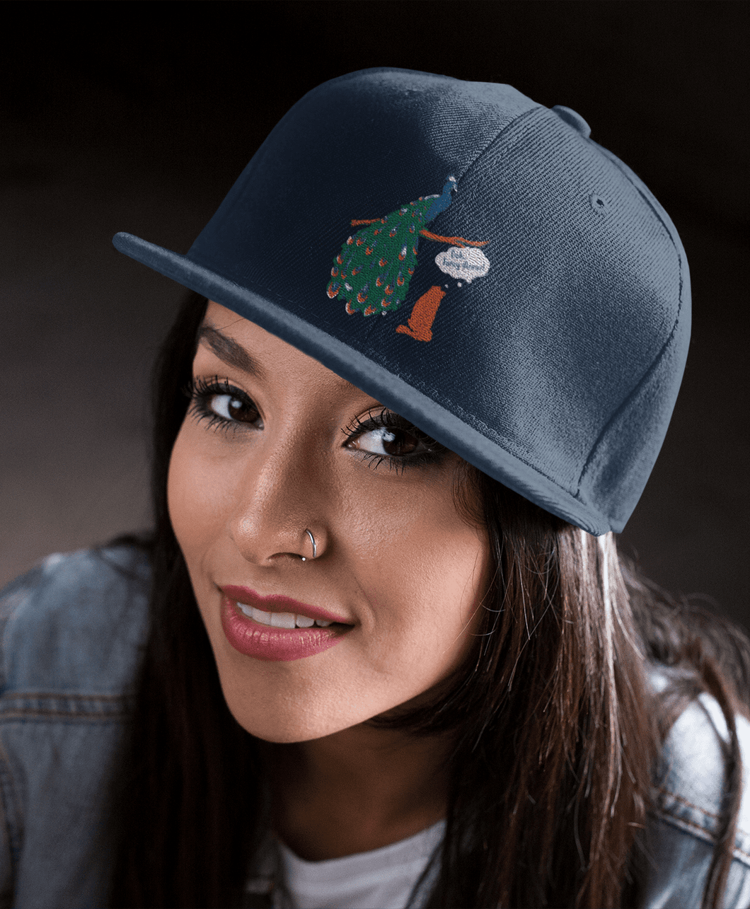women's navy hat peacock