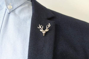 Lapel Pin Deer Head Silver
