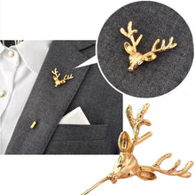 Load image into Gallery viewer, Lapel Pin Deer Head Gold