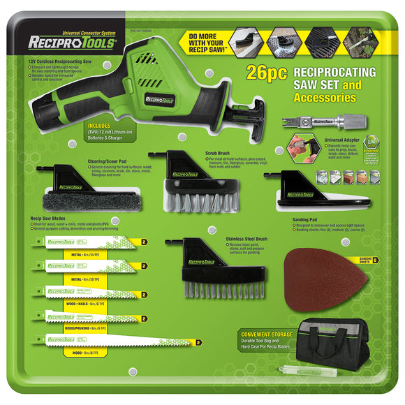 26pc Reciprocating Saw & Accessory Set