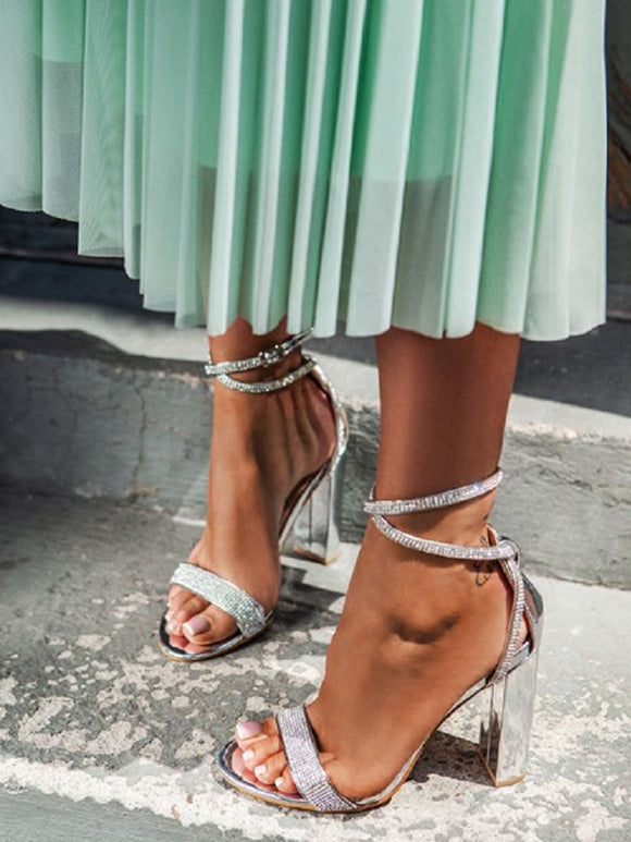Silver Bling Crystal Sandals