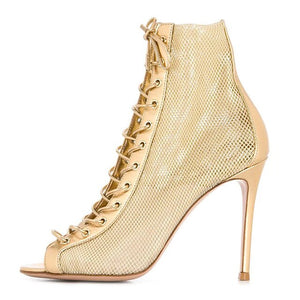 Mesh Gold Boots