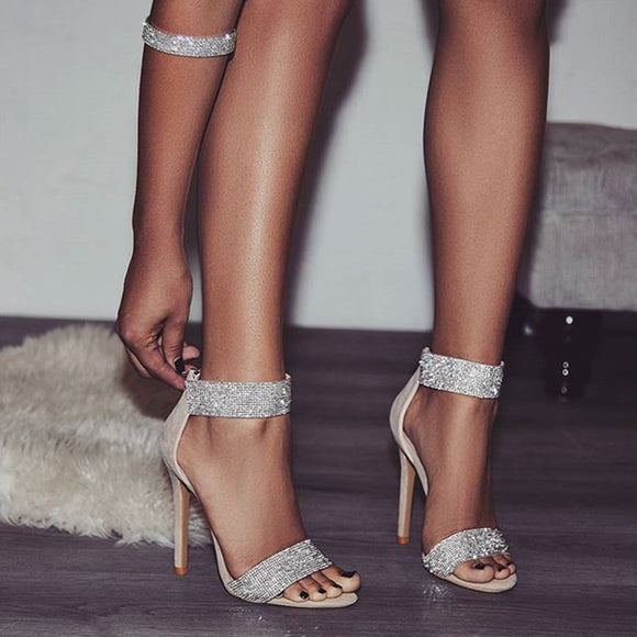 Luxury Crystal Heel Sandals