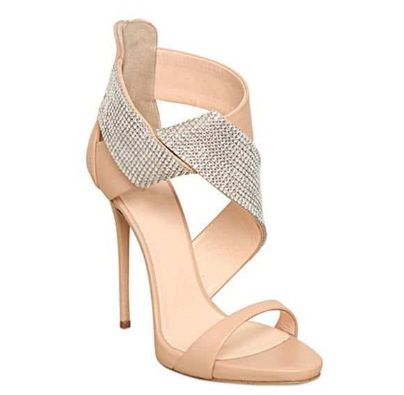 Crystal Decor Crossed Strappy Sandals