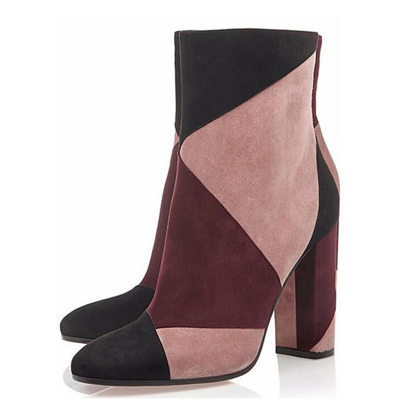 Mixed Colors  Ankle Boots