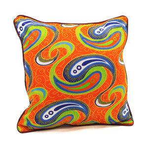 Coussin wax orange arabesques bleus thotmea