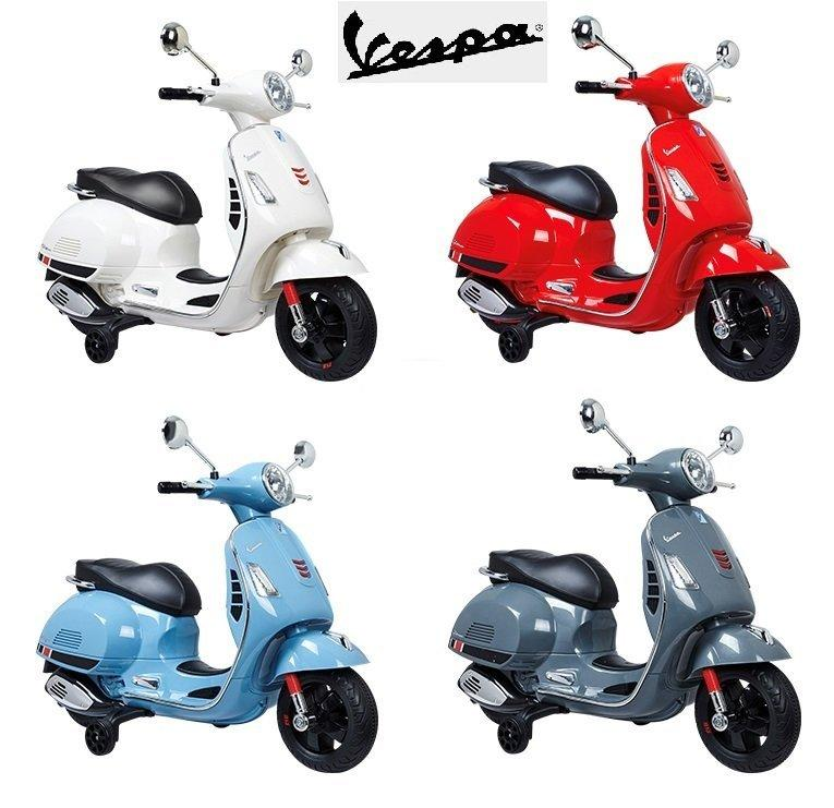 Vespa Primavera 12V Electric Ride On Kids Scooter Children Motorbike - Blue