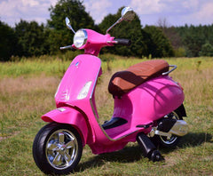 Licensed Vespa Primavera 12V Ride On Kids Scooter Children Motorbike - Pink