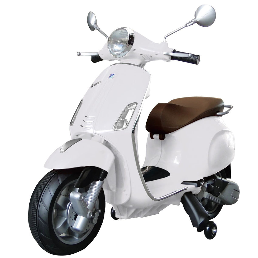 Licensed Vespa Primavera 12V Ride On Kids Electric Scooter - White