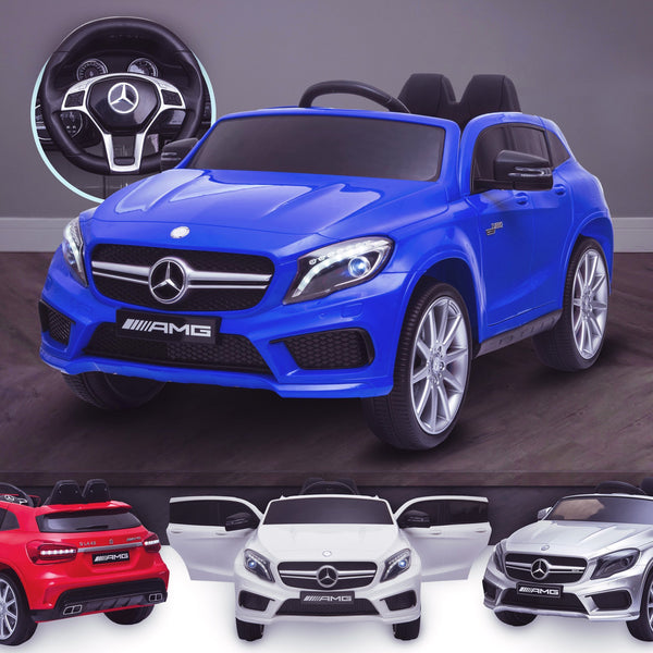 12V Kids Ride On Car Electric Licensed Mercedes Benz AMG GLA45 - Metallic Blue