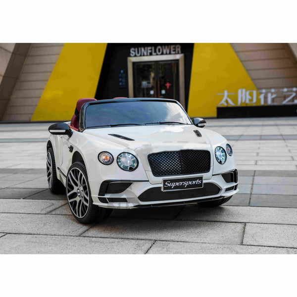 Licensed Bentley Continental Sports Two Seats 12v Kids Ride On Car with Remote - White