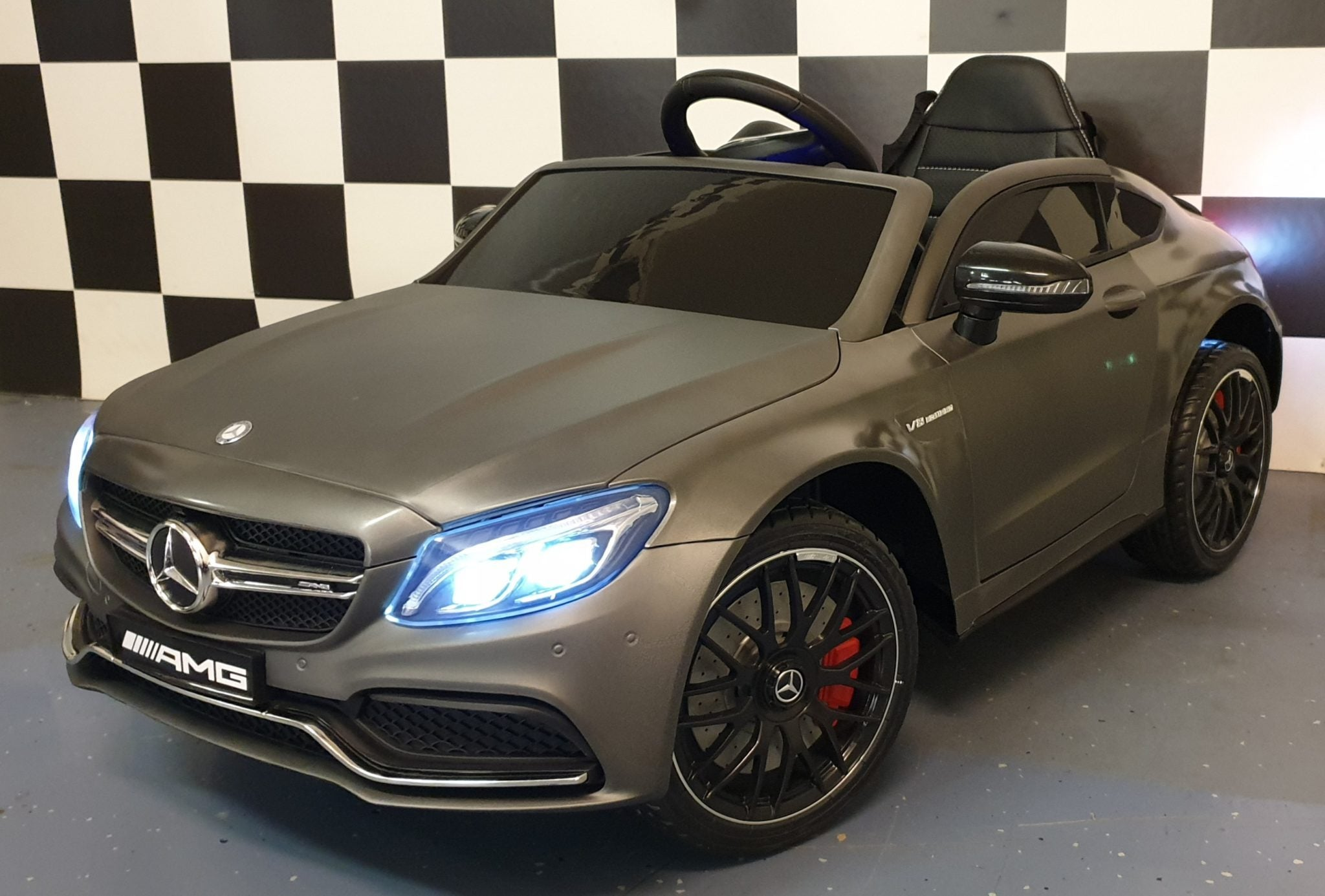 Licensed Mercedes C63 AMG 12V Kids Ride on Car with Remote - Matt Grey
