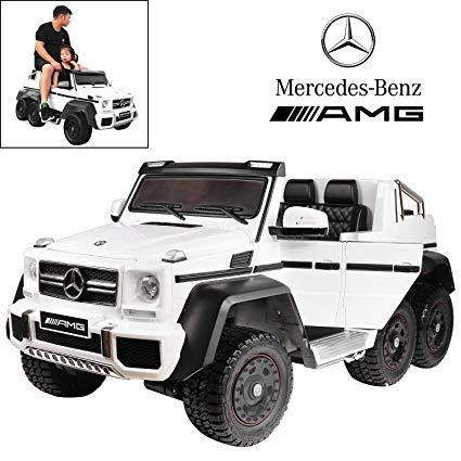 Mercedes G63 Electric Ride on Car 6x6 Jeep with Remote Control - White - 6 x wheel Drive