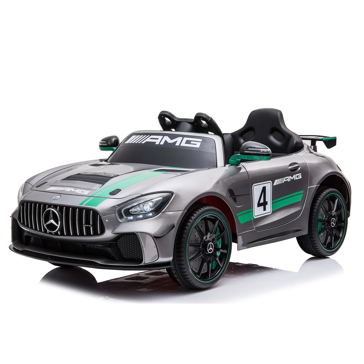 Licensed Mercedes Benz AMG GTR Sports 12v Kids Ride on Car - Metallic Silver