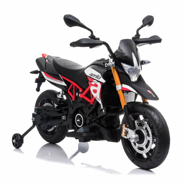 Aprilia dorsoduro Licensed 12V Ride On Kids Bike with Stabilisers - Red